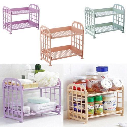 Hot Sale 2019 New 2 Tier Pure Plastic Freestanding Storage Racks Shelf Tower Durable Indoor Bathroom Garage