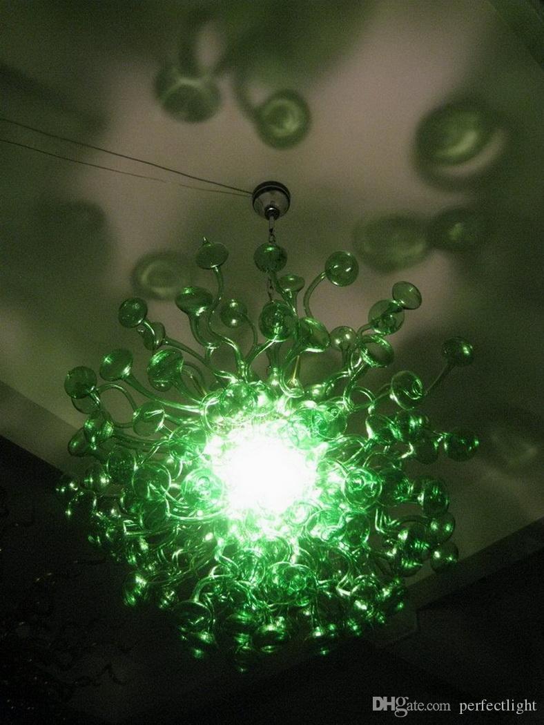 Cogumelo verde Forma 100% artesanal Murano teto da cozinha bela decoração Pingente luminárias frete grátis Hot Vendas