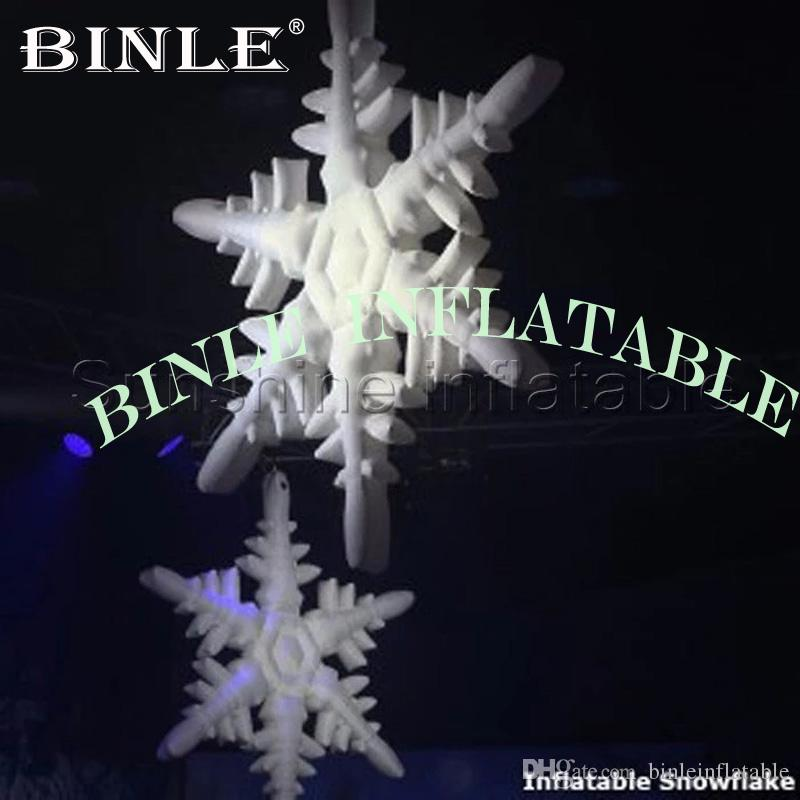 Hot sale featured giant inflatable snowflake for christmas decoration with led lights 16 colors changeable with remote