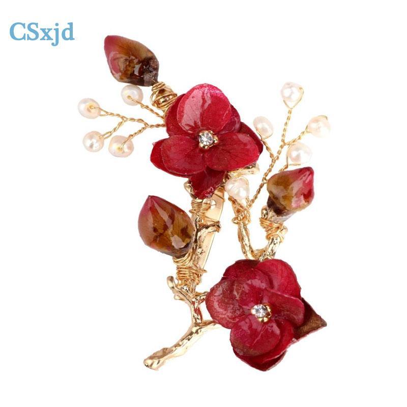 vente en gros bijoux de charme de mode perles d'eau douce broche rouge fleurs séchées broche mariage demoiselle d'honneur garçon d'honneur broche