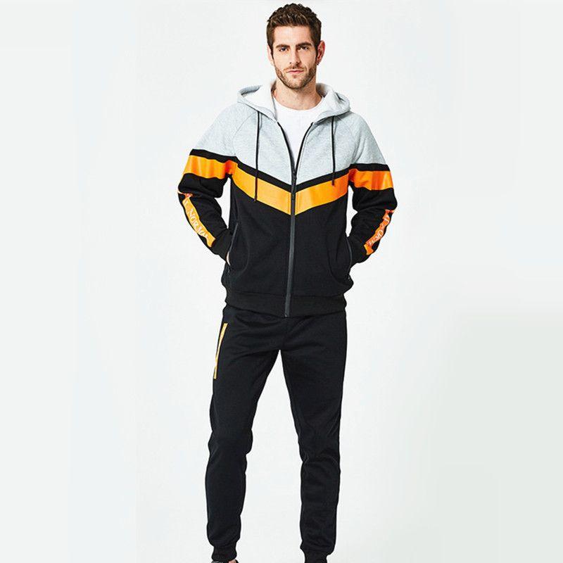 Fashion Causual Men Sets Tracksuits Patchwork Sport Style Warm Velvet Streetwear Plus Size Aumn Winter Men Clothes Outwear XXL