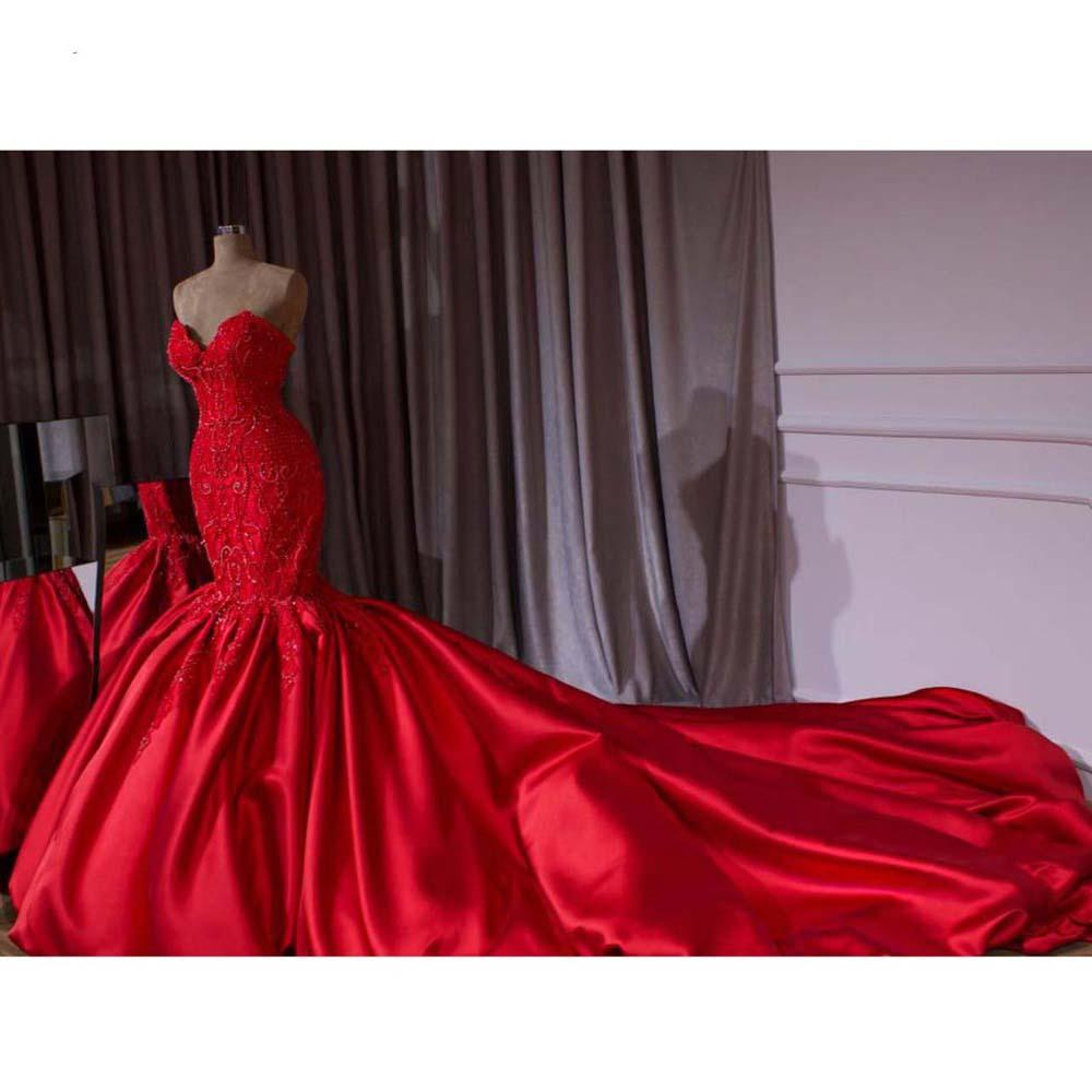 luxury red mermaid wedding dresses plus size sweetheart satin lace  appliques beads chapel train wedding bridal gowns robe de mariee dm020  simple