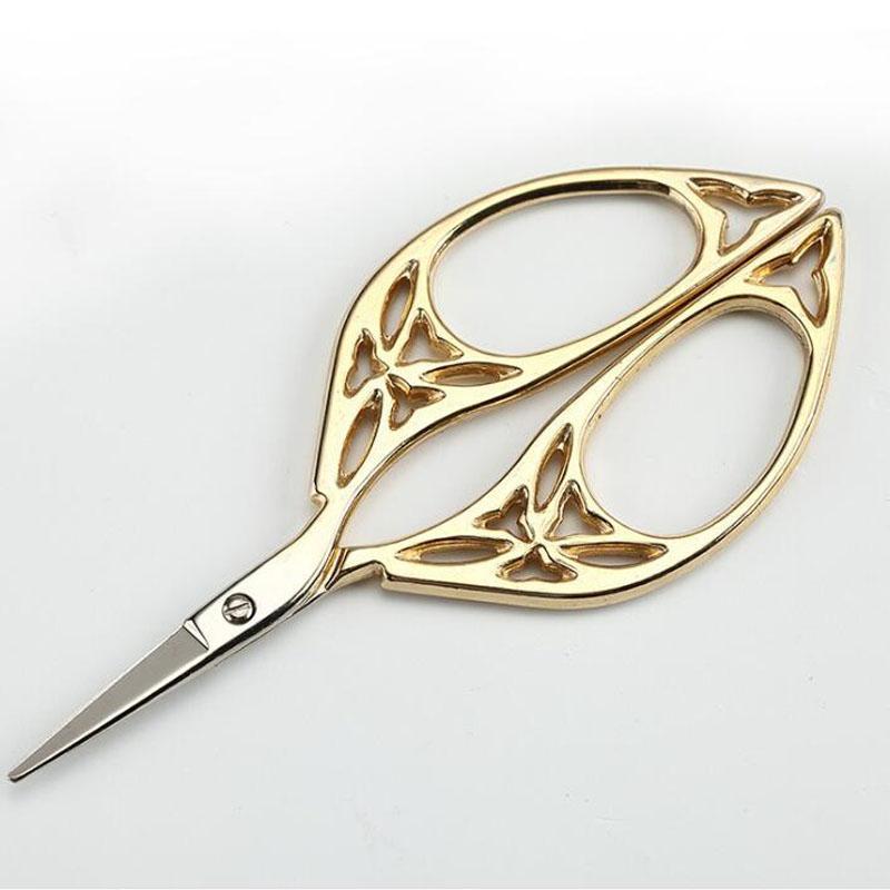 Tijeras de oro de la vendimia diseño hueco costura bordado de metal sastre tijera hilo recortador envío gratis