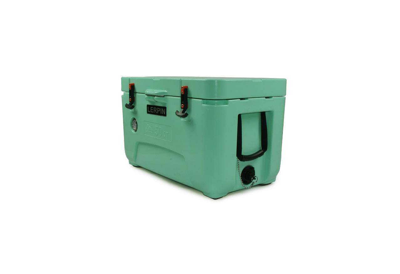 Lerpin Rotomolded Coolers Thermometer Hard Plastic Cooler Chest 50QT Green Portable Food Bucket Ice Cooler Chest