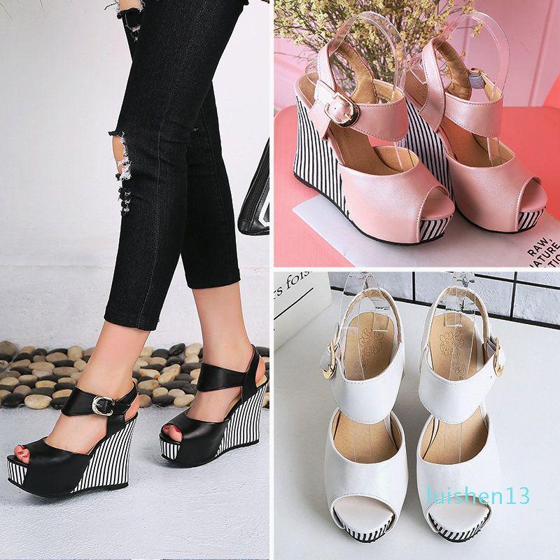 Platform Wedge Sandals Mulheres Ankle da bracelete Salto Alto Peep Toe Verão Sapatos de couro Casual Fashion Party Bombas l13 Branco Preto