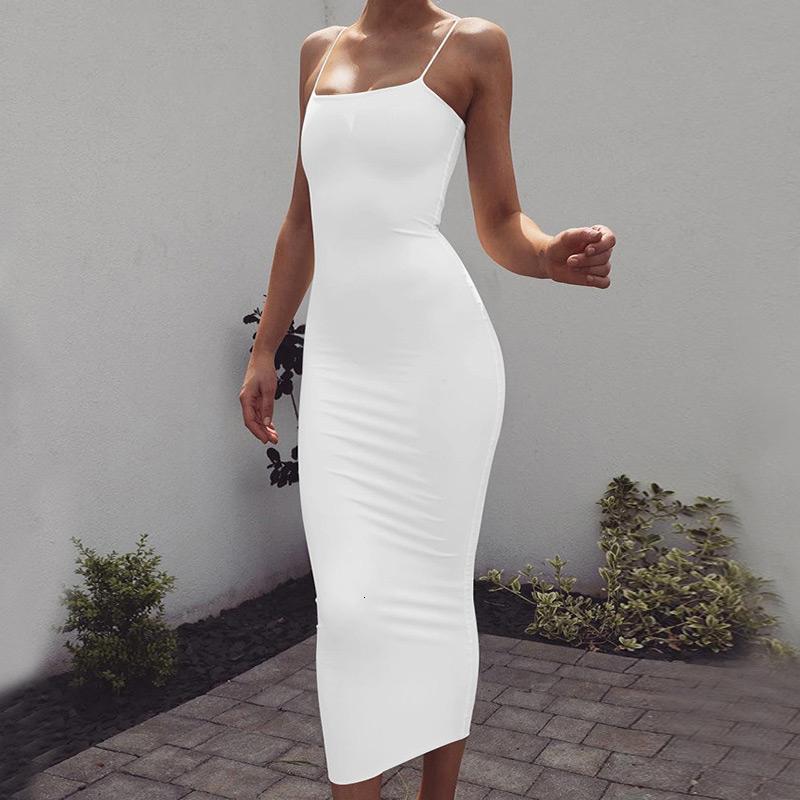 Для женщин Платья Белого платья голеностопного Длина Sexy Спагетти ремень Bodycon Midi платье лето женщин Белых рукава Basic Party Night Осень