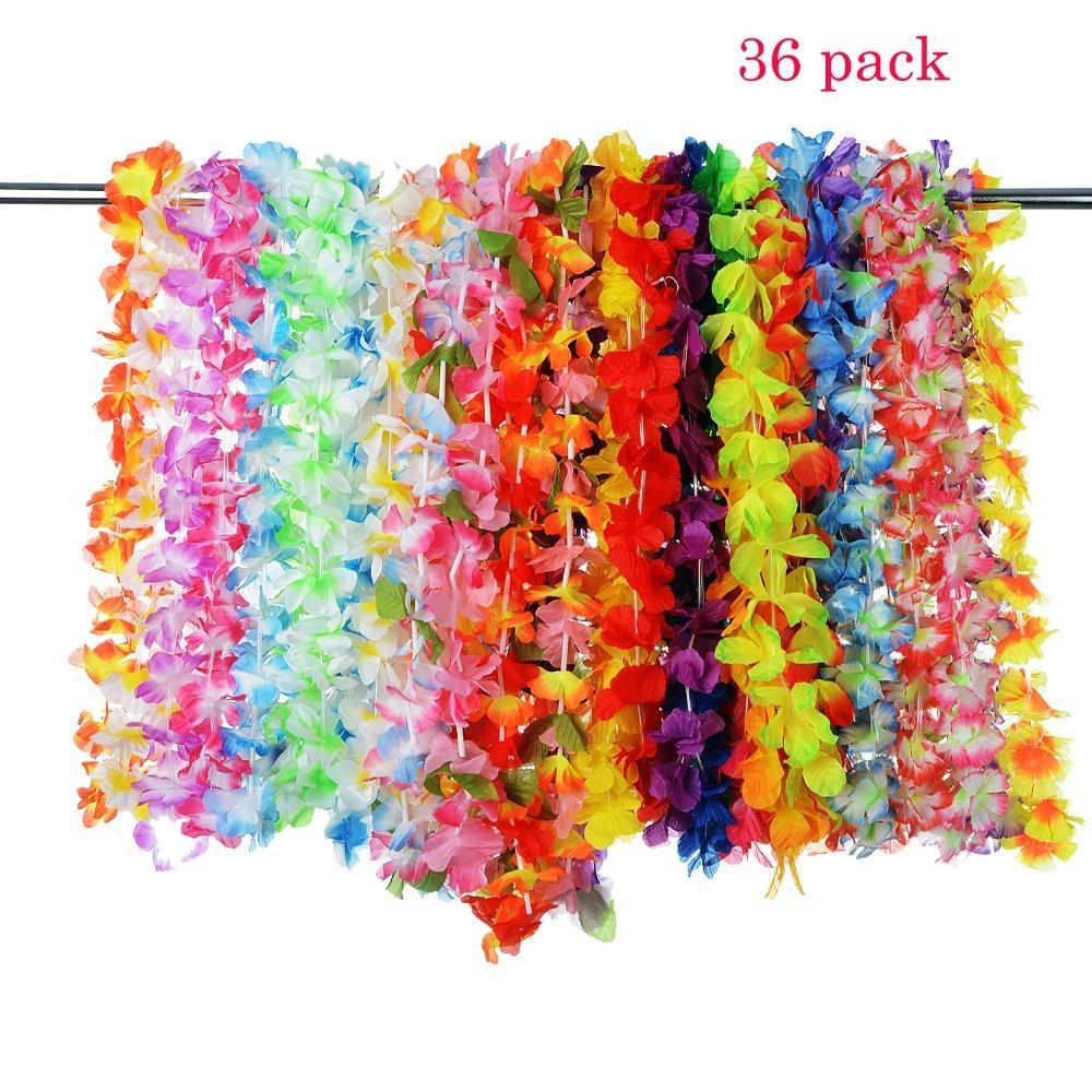 36 Sayar Parti Plaj Tropikal Çiçekler Kolye Hawaii Luau Çiçek Lei Parti Festivali Parti Süslemeleri Düğün Tedarik Şekeri C18112601