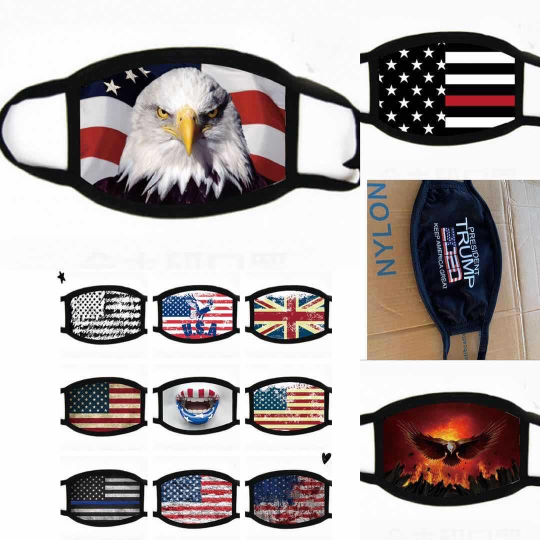 Bandera de los EEUU de American Eagle impresos Mascarillas Diseñador barras y estrellas Boca máscara máscaras procesión ciclo al aire libre a prueba de polvo Deportes