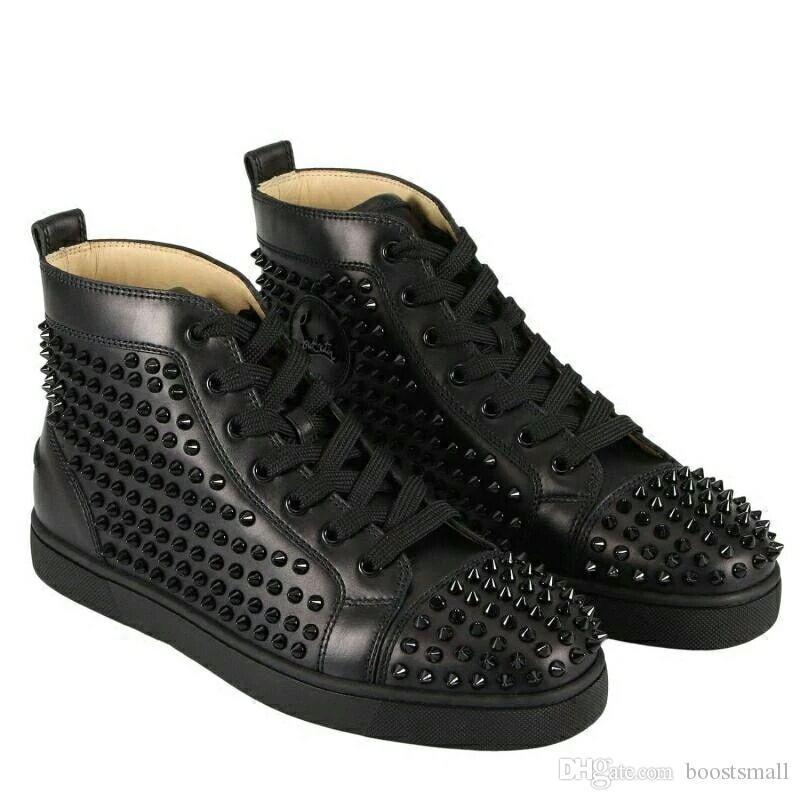 Homens Sapatos parte inferior vermelha sapatilha Luxo sapatos de casamento festa, couro genuíno Louisfalt Spikes Lace-up Casual Shoes preto branco.
