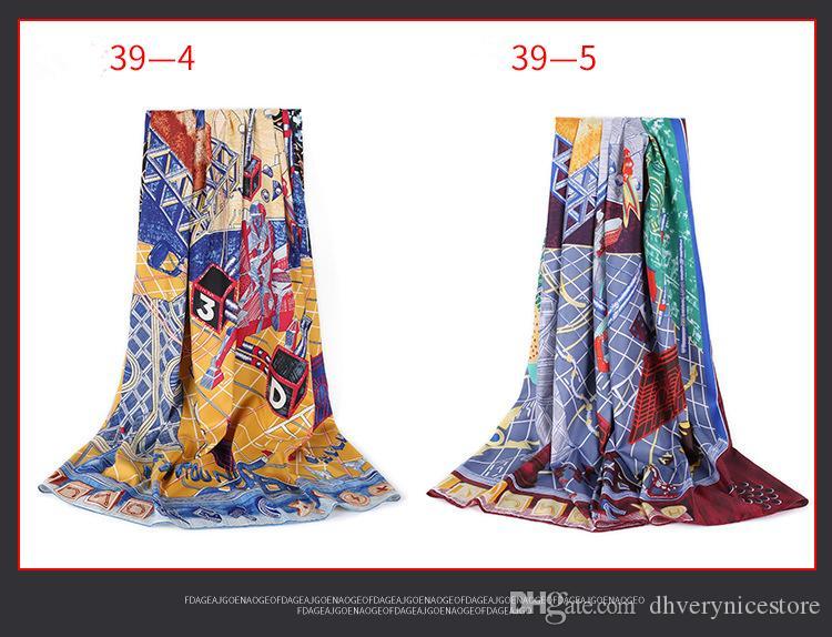 Restaura las formas antiguas Toalla de seda satinada de seda grande cuadrada para que combine con la impresión Aire acondicionado Chal Gasa Mujer