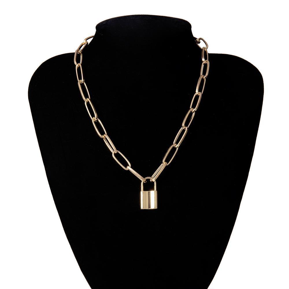Новый хип-хоп Простой ожерелье слой цепи с замком женщин / мужчин панк висячий кулон ожерелье Vintage ювелирные изделия