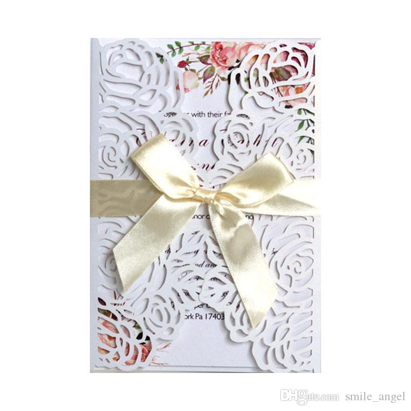 Nieuwe 2020 laser gesneden bruiloft uitnodigingskaarten linten voor bruiloft bruids douche verloving verjaardagsgraduatie door DHL Snel