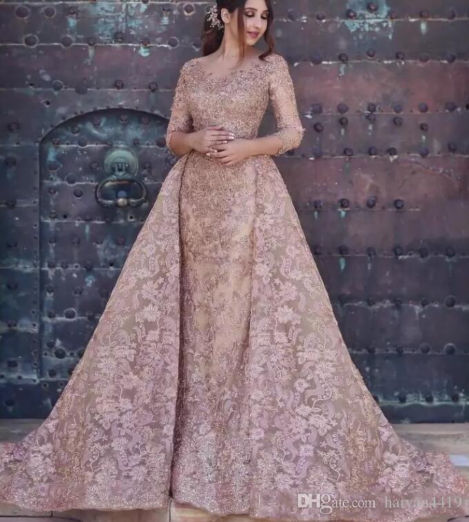 2020 Dubai arabo modesto della sirena dei vestiti da sera di usura maniche lunghe in pizzo completa applicazioni di cristalli partito convenzionale abiti Prom Dress Con Overskirt