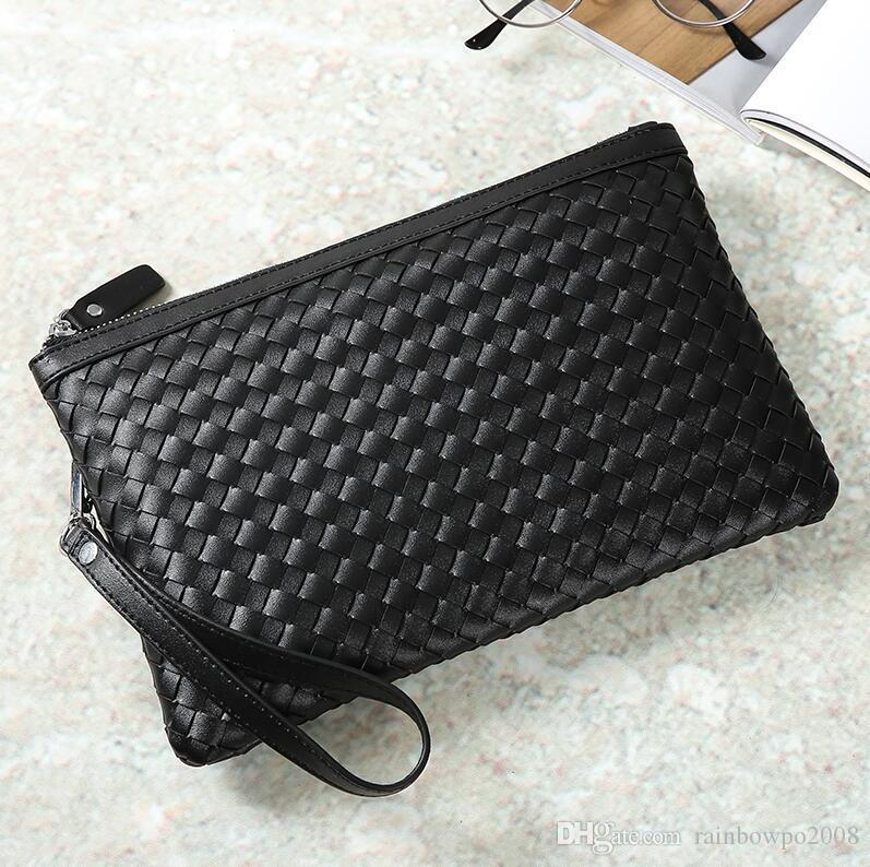 Factory wholesale men handbag classic hand-woven wrist bag fashion leather men storage wallet fashion woven leather mobile phone bag