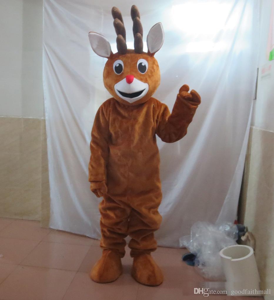 2019 Высокое качество головы красный нос Рождество оленей талисман костюм для взрослых носить