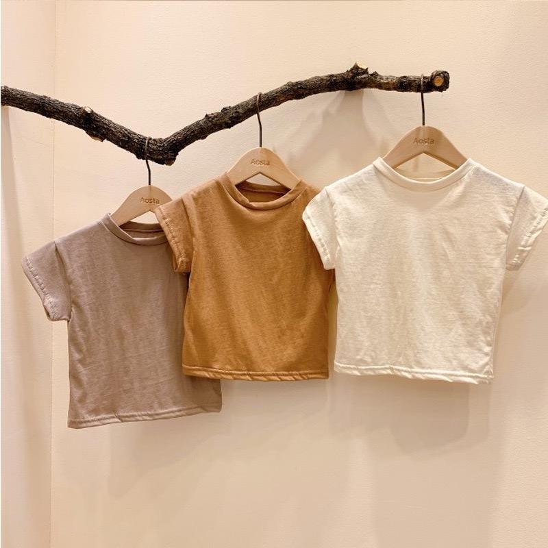 Ins New Korean Fashions Bebê Meninas Meninos Brown Puro Algodão Tops Qualidade do Verão Camisetas Crianças de Algodão Meninos Tops Unisex Kids Tshirts