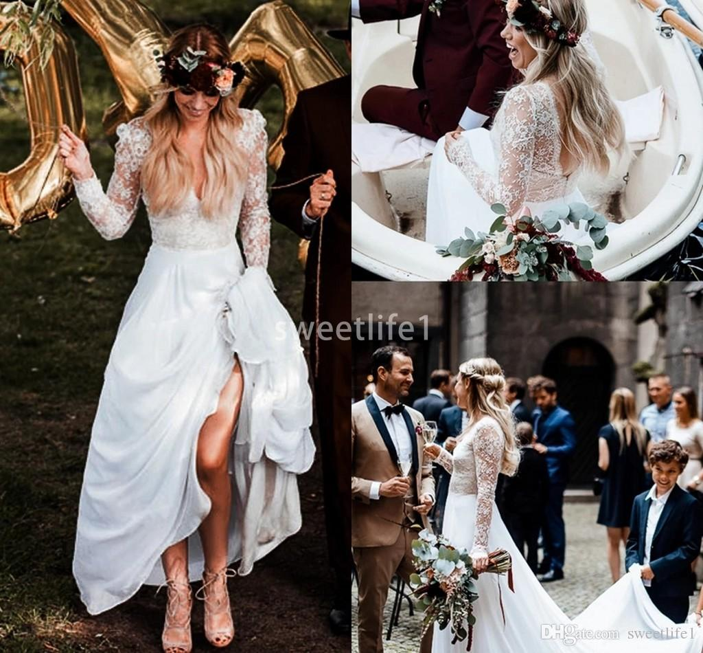 Discount 2019 Boho Chic Rustic Long Sleeve Wedding Dresses A Line Sweep Train Backless Lace Country Garden Bridal Gown Custom Made Hot Sale Bridal Gowns Online Bridal Party Dresses From Sweetlife1 125 73