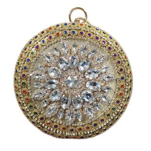 Bee In Circular Hand Inlaid Diamond Evening Bag Sun Flower Jewelry Banquet Bag