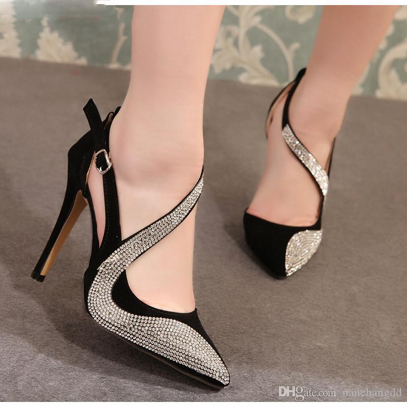 сексуальные туфли на высоких каблуках женщины дизайн высокие каблуки ночной клуб горный хрусталь женщины насосы высокие каблуки партии свадебные туфли