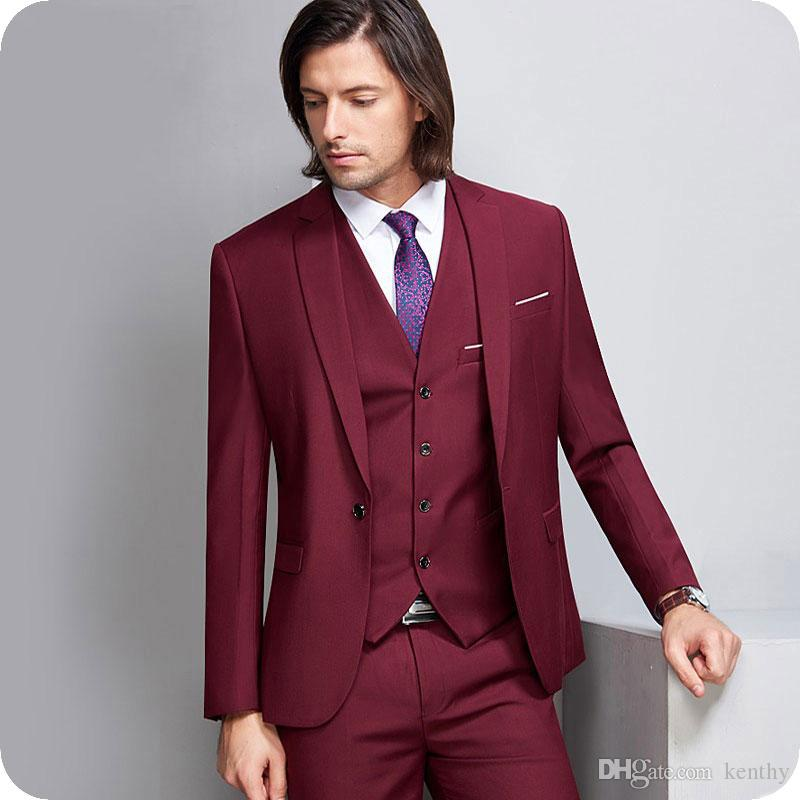 Burgundy Homens Ternos 2019 Terno do casamento Homem Blazers Noivo Smoking Custom Made 3piece Jacket Pant Vest One Button Noivo Homme Costume Party