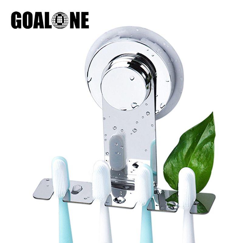 GOALONE Paslanmaz Çelik Diş Fırçası Tutucu Duvar Emme Kupası Diş Fırçası Ayna Tutucu Yeniden kullanılabilir Banyo Duş Aksesuarları Monteli
