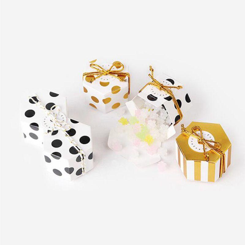 10pcs Mini Belle d'or ronde Polka Dot or à rayures papier Boîtes pour bébé bonbons douche boîte cadeau de fête d'anniversaire de mariage boîte Faveur