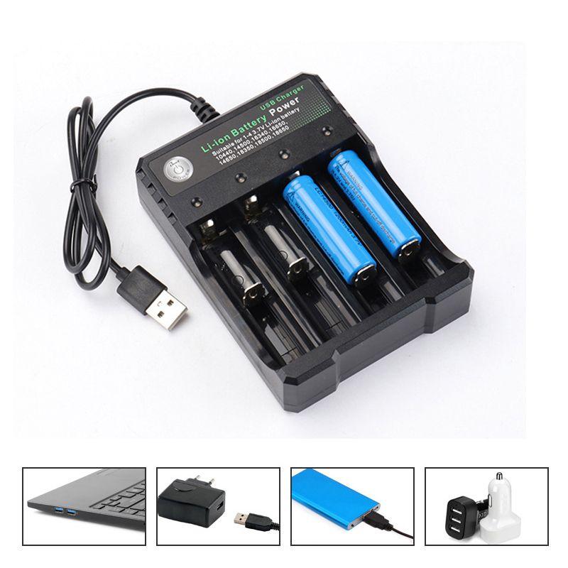 USB зарядное устройство литий-ионная батарея питания 3.7V 18650 4 Слоты независимая зарядка для электронной сигареты 18350 16340 10440 14500 16650 батареи