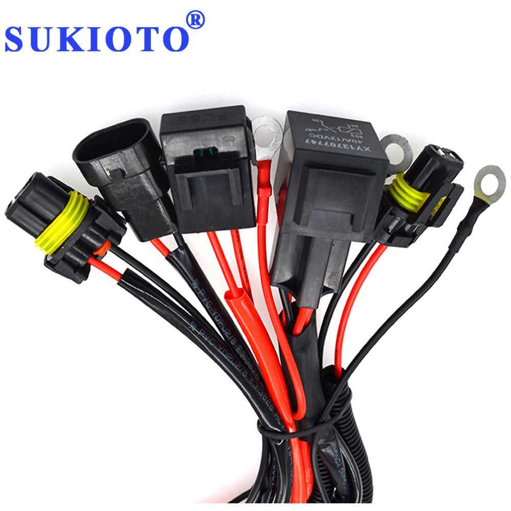 SUKIOTO 40A 릴레이 9005 9006 H1 H3 H7 H11 D2H 릴레이 와이어 하네스 연장 케이블 제논 라이트 컨트롤러 H7 소켓 어댑터 플러그