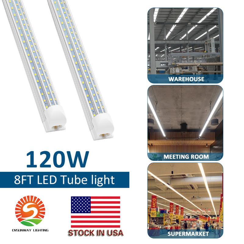 LED shop lights 4ft 8ft 120W LED Tube Light V Shape Integrated Tubes 4 5 6 8 ft Cooler Door Freezer LED Lighting