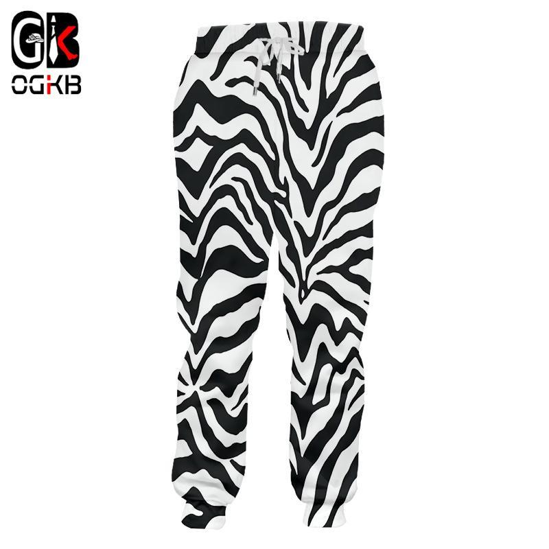 OGKB Pantalons simple garçon Nouveau long en vrac Leopard Pantalon 3D imprimé à rayures zèbre Hiphop grande taille Costuming unisexe hiver pantalon