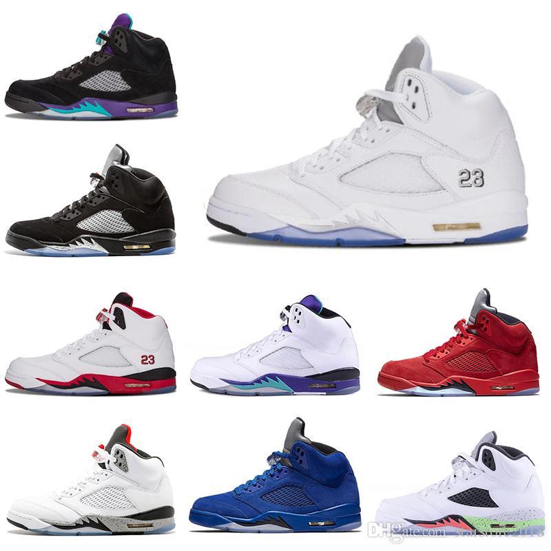 Nike air jordan 5 5s New mens tênis de basquete 5 5 s preto uva cimento branco medalha de ouro olímpica espaço Jam azul fogo vermelho tênis esportivos tamanho 7-13