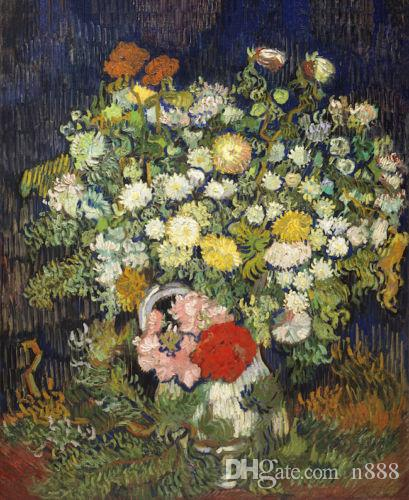 Винсент Ван Гог картина маслом на холсте Букет цветов в вазе Home Decor расписанную HD Print Wall Art Canvas картинки 191029