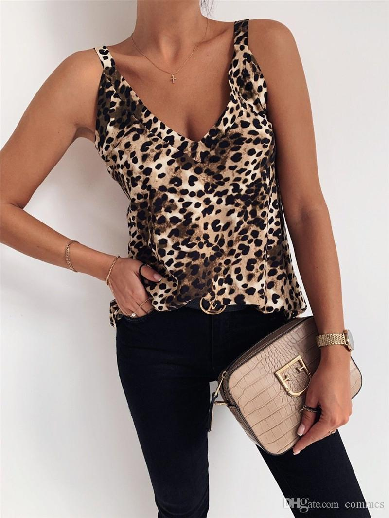 Women Designer Leopard Print Tanks Sexy V-Neck Backless Tanks Casual Loose V-Neck Natural Color Tanks Women Clothing Eiojh