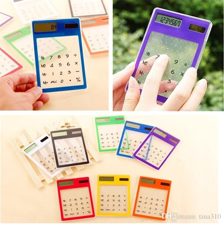 Taşınabilir 8 Renkler Şeffaf Güneş Hesaplama Mini El Hesaplama Kırtasiye Öğrenciler için Uygun Ultra-ince Hesap Makinesi T3I0453