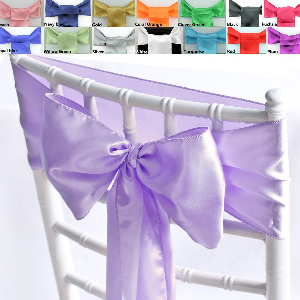 "Nuevo 6x108 ""Satin Chair Cover Sash Bow 20 Colors Wedding Party Banquet Decorations 15cmX275cm"