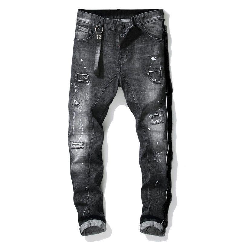dsquared2 DSQ d2 mens jeans design de luxe denim pantalon noir déchiré de la meilleure façon version trou cassé Italie marque de moto designerR5SF