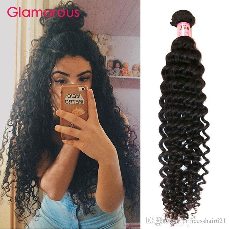 Glamoroso Virgin Human Hair 1 paquetes Onda profunda Rizado Cabello Brasileño Tejidos 8-34 pulgadas Color natural Peruano Indio Rizado Extensiones de cabello