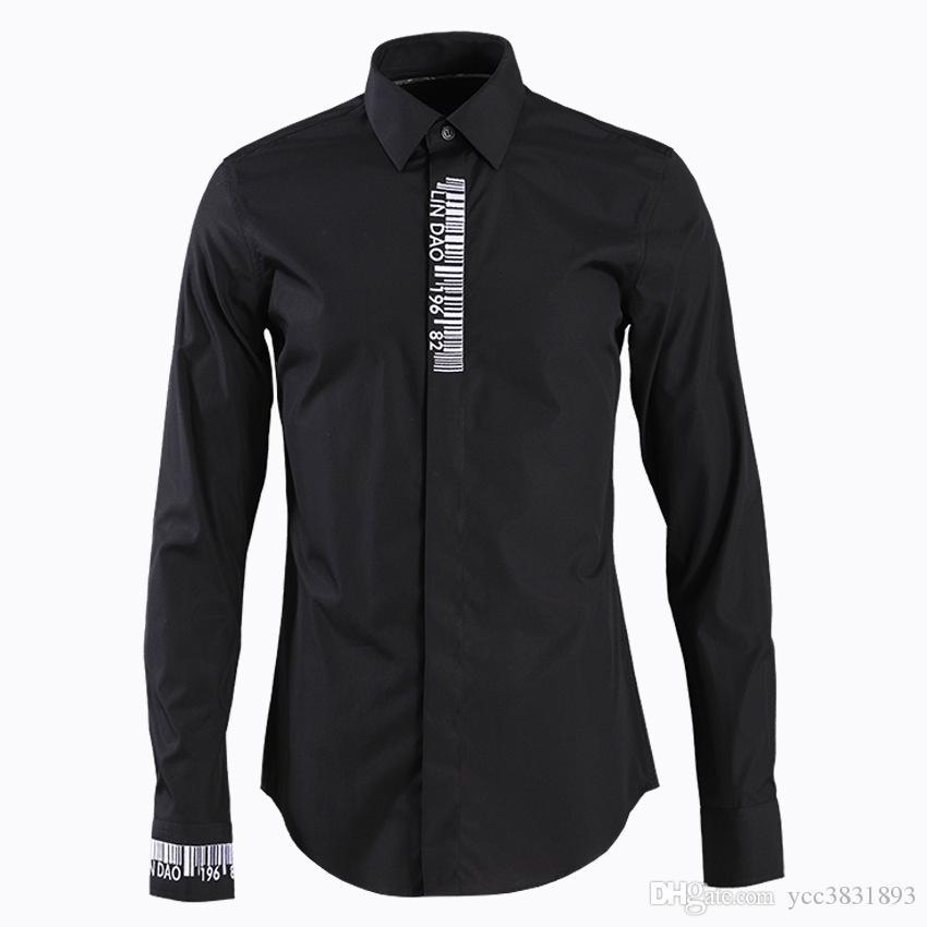 Plus la taille 4XL mode Slim manches longues hommes chemise homme classique de haute qualité chemise décontractée broderie Seuil Bar Code Camisa Masculino