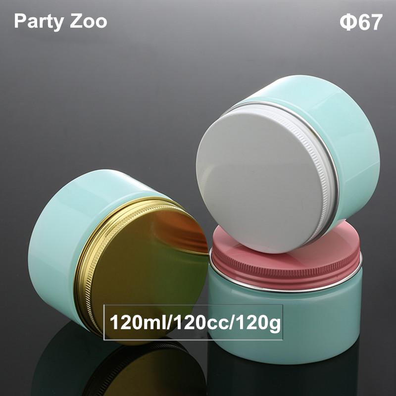 120G أزرق فاتح كريم جرة، 120cc PET كريم حاوية بلاستيكية زجاجة مع الذهب / أبيض / الوردي الألومنيوم برغي اغطية