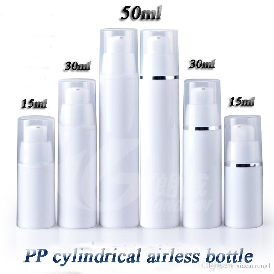 50pcs/lot Free Shipping 15ml 30ml 50ml cylinder PP airless bottle vacuum pump bottle lotion bottle used for Cosmetic Containe