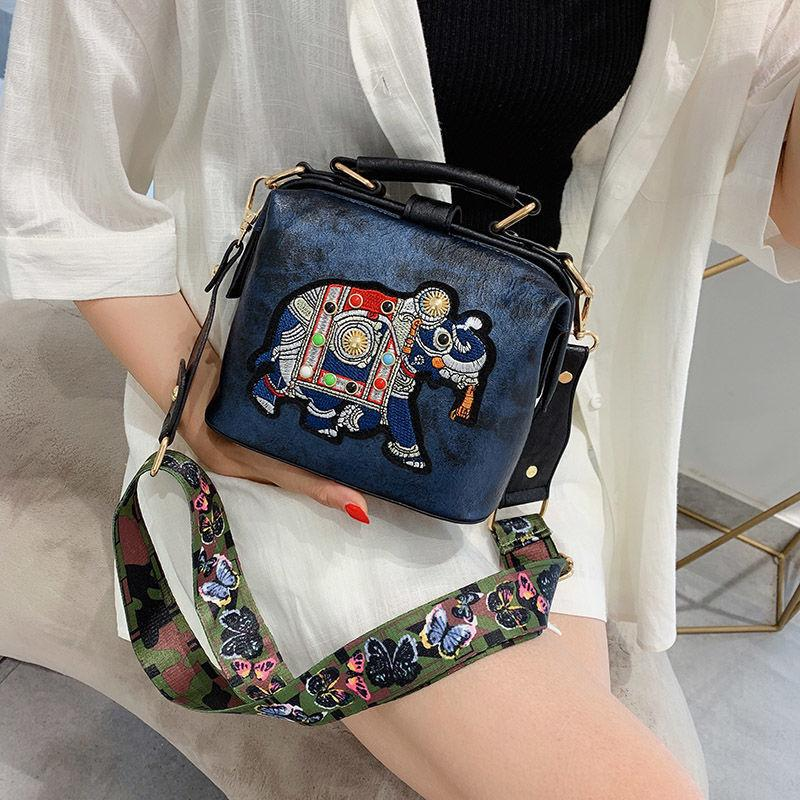 Vintage Embroidery Elephant Bag Bags Wide Butterfly Strap PU Leather Women Shoulder Crossbody Bag Tote Women's Handbags Purses S200408