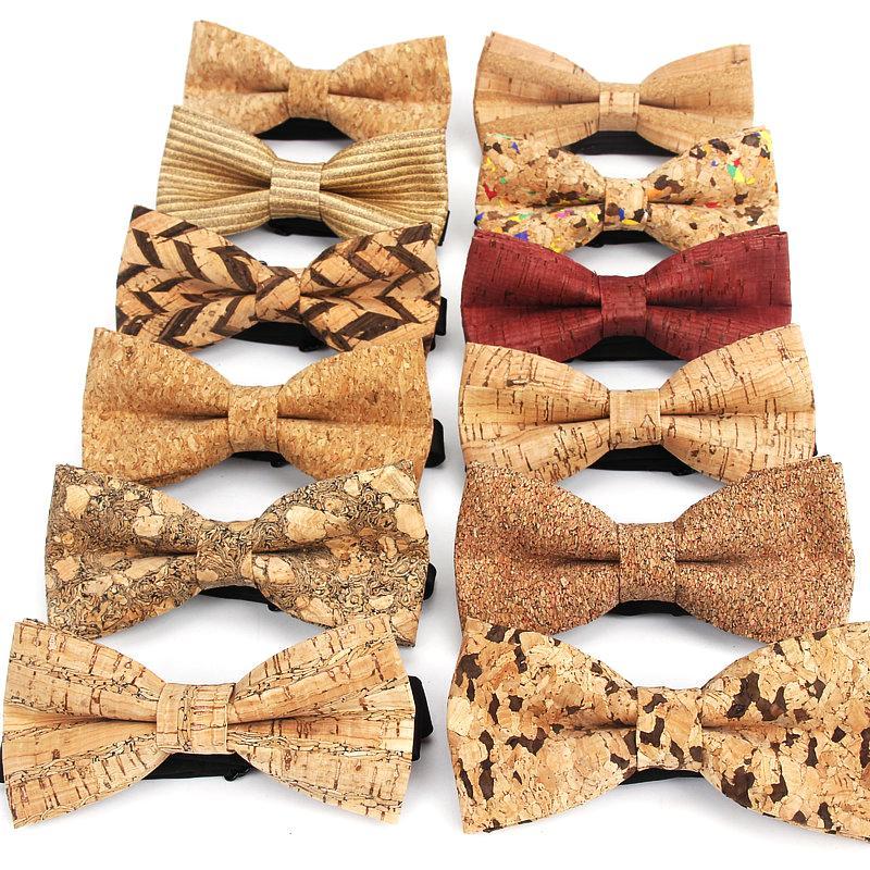 Новый Корк Вуд Моды бабочки Mens новизна Handmade Твердая Галстуки для Mens Wedding Party Man подарочных аксессуаров Мужчину Bowtie