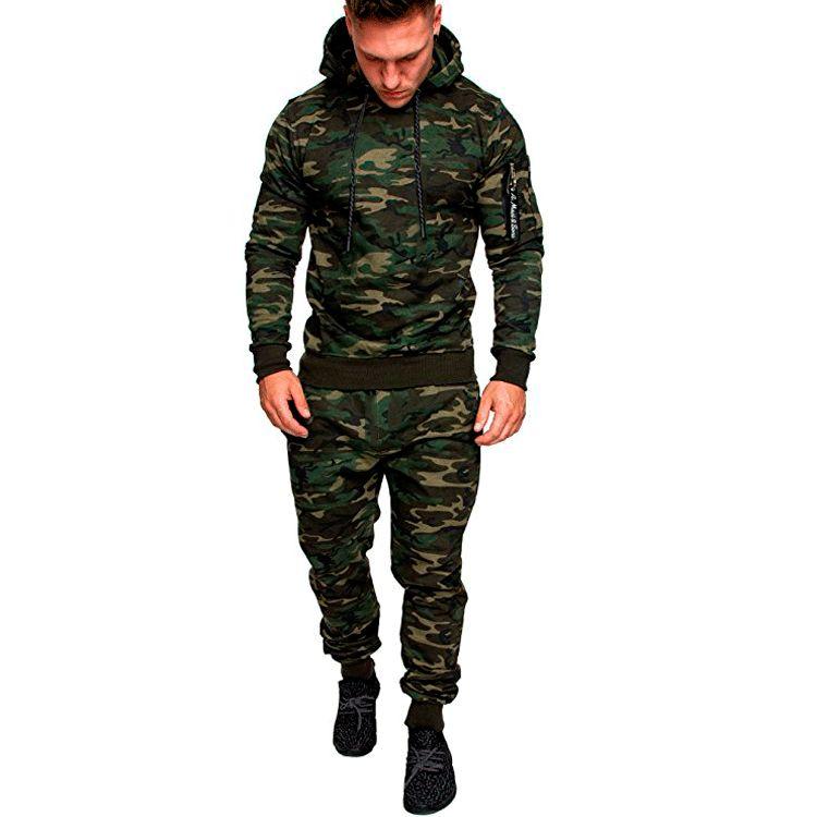 Nuove Sportwear Mens Camo Zipper Tute Solid Primavera maschio allenamento tuta con cappuccio vestito di pantaloni mette gli uomini tute