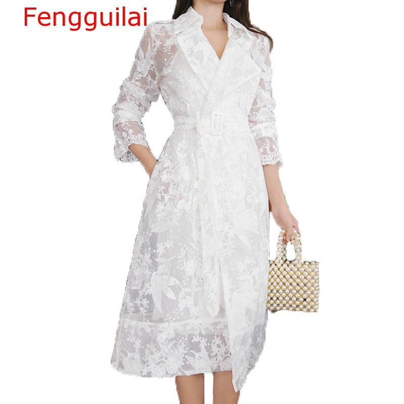 New Lace Trench Coat For Women Autumn Long Sleeve Notched Collar Self Belted Flower Embroidery Long Cardigans Casual Trench Coat