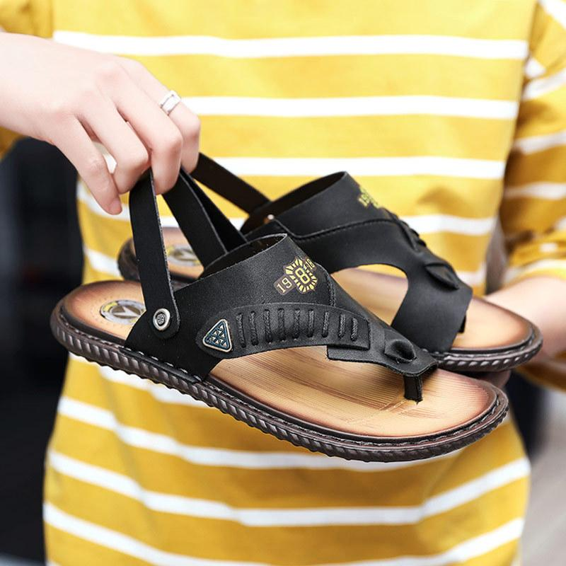 2020 Summer Microfiber Leather Mens Sandals Rubber Mens Casual Beach Shoes Breathable Male Slippers