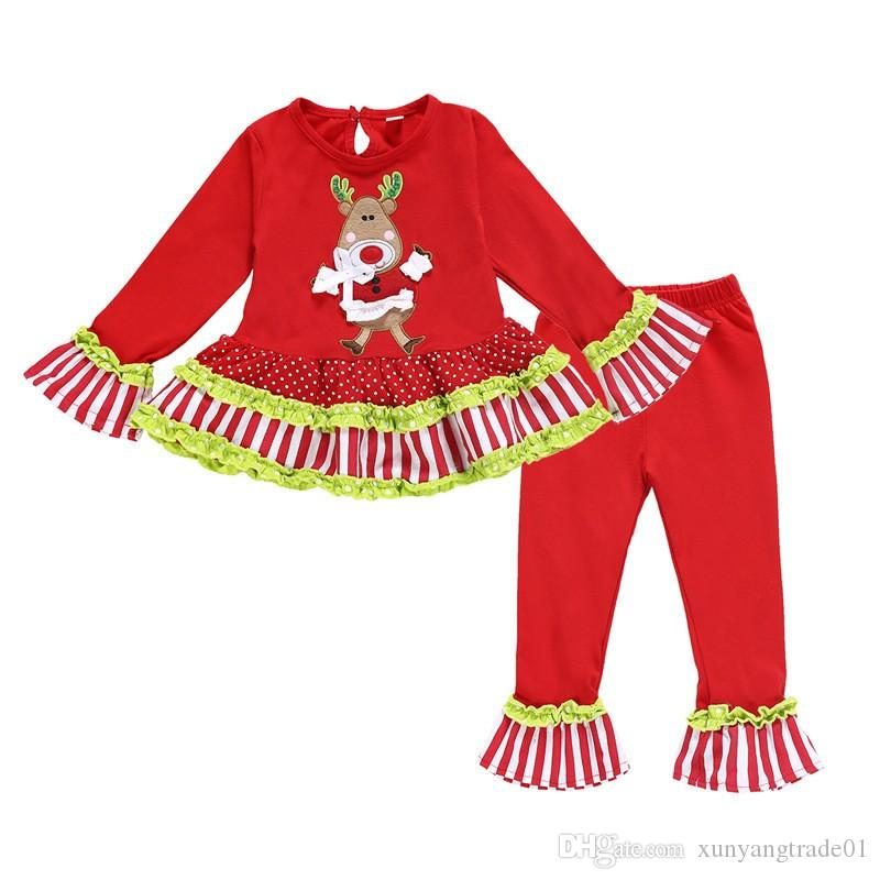 Christmas 2PCS Girls Set Kids Suit Baby Clothes Father Cartoon Deer Flare Sleeve Tops Long Pants Chilrden Kids Clothing New Q410