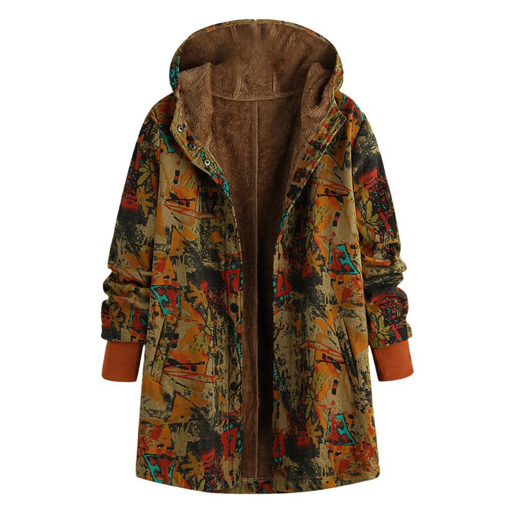 Le donne inverno caldo stampa floreale con cappuccio Flower Stampa Hoody d'epoca di grande misura di inverno dei cappotti imbottiti outwear Donne Parkas Abrigo mujer