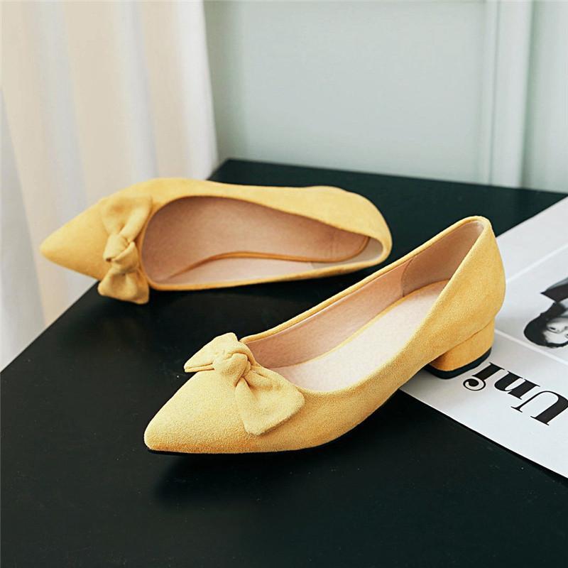 Chunky Bloc Talons Femmes Pompes Toe à talons bas Pointu Chaussures Femme Travail de bureau robe de mariée chaussures de mariage Bow Chaussures Rose Jaune
