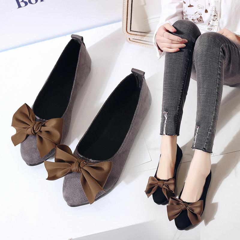 타이 드 우먼 펀드 플랫 보텀 조커 더그 구두 페어리 아사쿠치 보우 여성용 신발 Honor2019