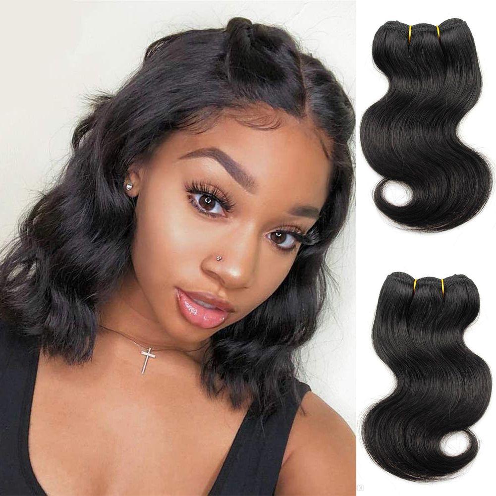 8 Inch Body Wave Human Hair Bundles Bob Weave Hairstyles Peruvian Virgin  Hair 4 Bundles Natural Black Hair Weft Real Human Hair Weave Human Hair ...